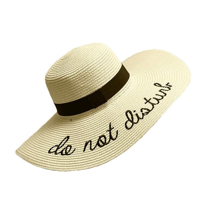 c6f215ff LIXYIT Womens Embroidery Large Brim Floppy Foldable Summer Sun Hat Straw  Beach Hat