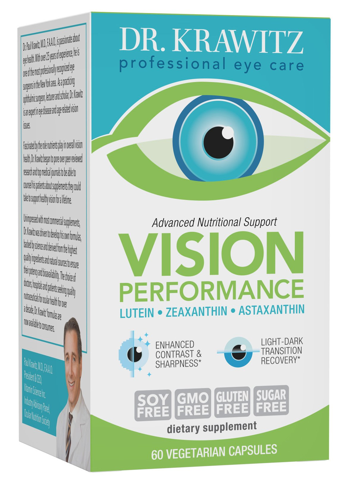 Dr. Krawitz Vision Performance with Lutein, Zeaxanthin & Astaxanthin - 60 caps by Dr. Krawitz Professional Eye Care Supplements (Image #1)