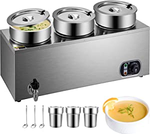 VEVOR 110V Commercial Food Warmer 12.6 Qt Capacity, 800W Electric Soup Warmer Adjustable Temp.32-185℉, Stainless Steel Countertop Soup Pot with Tap, Bain Marie Food Warmer for Cheese/Hot Dog/Rice