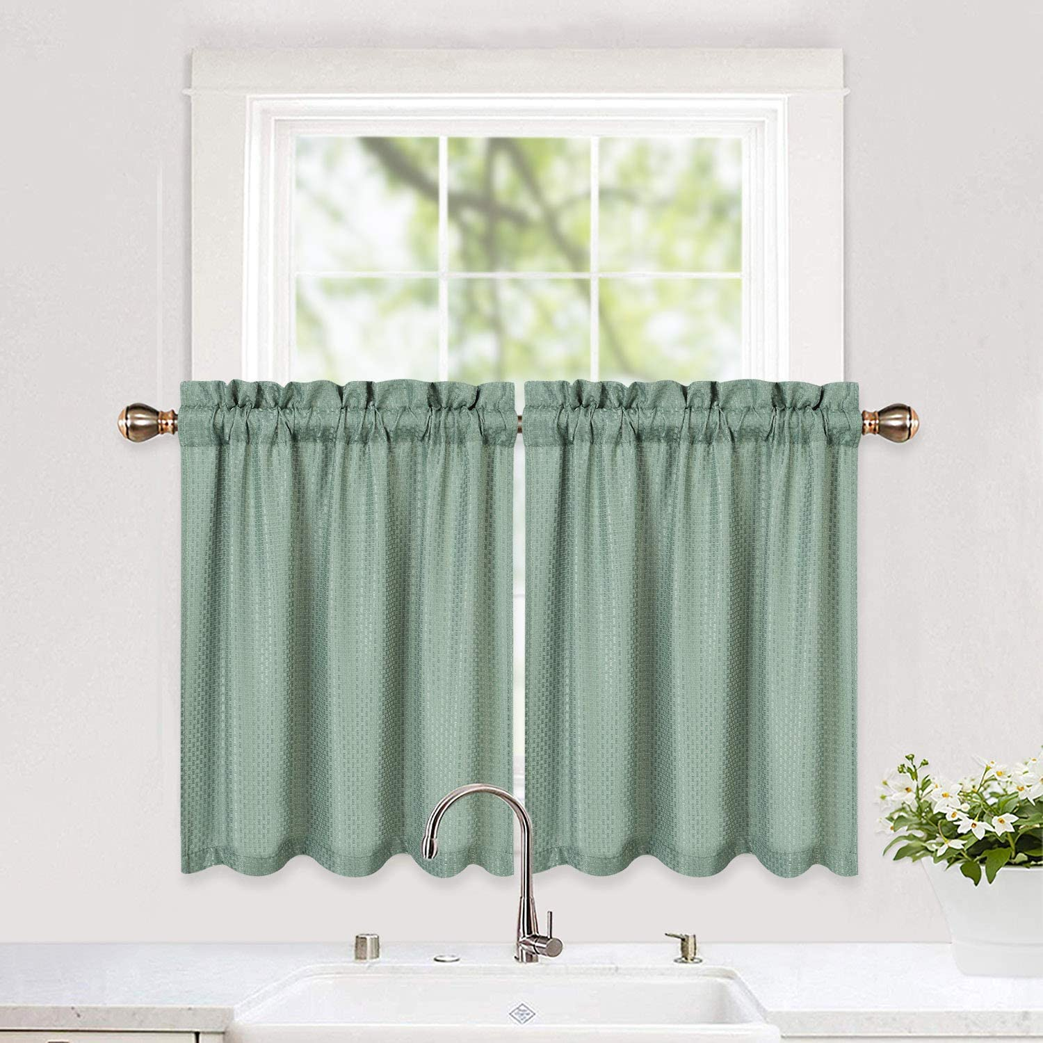 Lintimes Waterproof Kitchen Curtains Waffle Weave Textured Tier Curtains Short Curtains Half Window Treatment Curtains For Kitchen Bathroom Living Room 30 30 Sage Set Of 2 Amazon Co Uk Kitchen Home