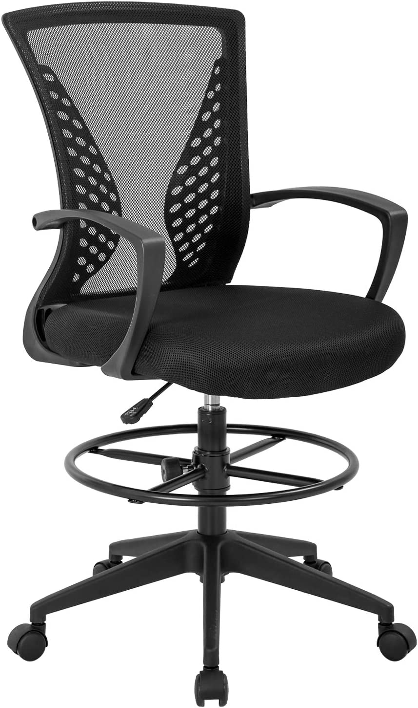 Drafting Chair Tall Ergonomic Office Chair Home Desk Chair Rolling Computer Mesh Swivel Modern Executive Task Chair with Height Adjustable Foot Rest Mid Back Lumbar Support Armrest Black