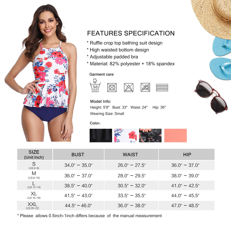 MarinaVida Women Ruffle Top Swimsuit High Waist Two Piece Bathing Suit