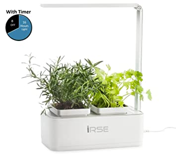 IRSE Indoor Garden Kit, Hydroponics LED Growing System, 2 Self Watering  Gardening Pots,