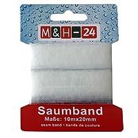 M&H-24 Saumband Bügel-Saum für Textilien Hosen Gardinen Vorhänge zum nähfreien aufbügeln, weiß 2cm