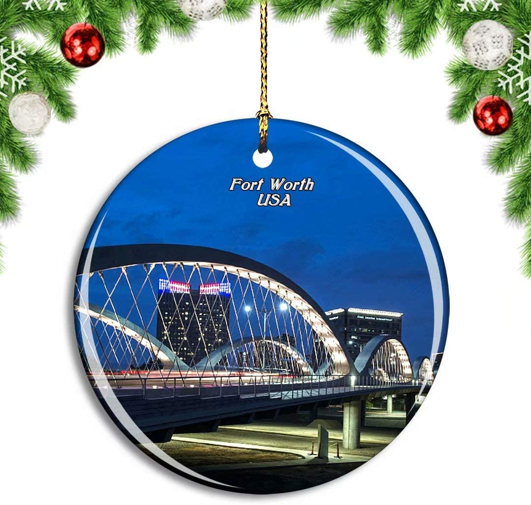 Weekino USA America Fort Worth Bridge Christmas Xmas Tree Ornament Decoration Hanging Pendant Decor City Travel Souvenir Collection Double Sided Porcelain 2.85 Inch