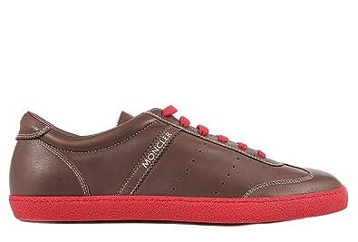 MONCLER chaussures baskets sneakers homme en cuir biarritz rouge EU 45  3109A004080005793 fbdf5ec5d16