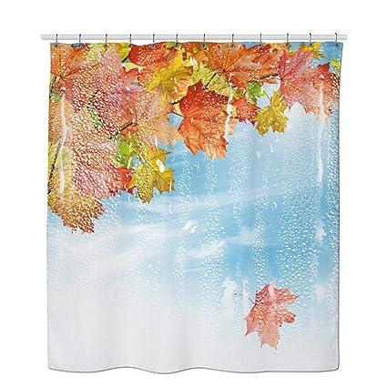 Autumn Shower Curtain Set Leaves Dew Burlap Fabric