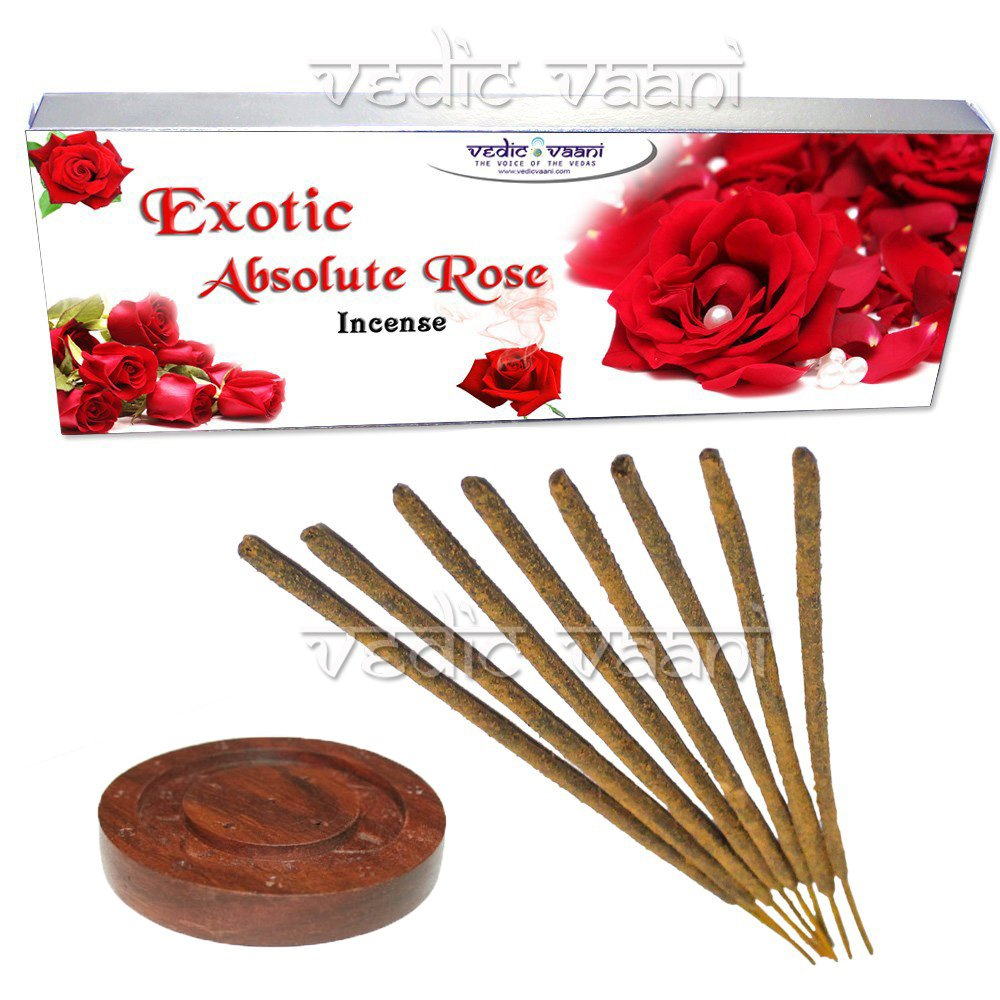 エキゾチック絶対Rose Incense – 250グラムwith Wooden Incense Holder Vedic Vaani B075GQVZWW
