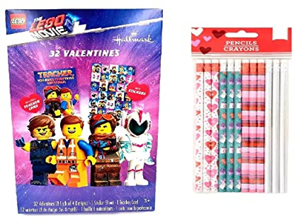 Amazon Com Lego Movie 2 32 Classroom Valentines Day Cards