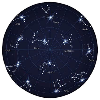 Sky Star Map.Amazon Com Round Area Rug Mat Rug Constellation Sky Star Map With