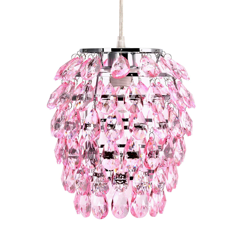 Topotdor Crystal Chandelier, Chrome Flush Mount Ceiling Light Fixture with Raindrop Crystals, Modern Ceiling Lighting for Hallway, Bedroom, Living Room, Kitchen Light Pink 1