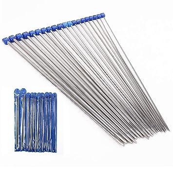 CLE DE TOUS@ Agujas de tejer de acero inoxidable 36cm de largo 10 size diferentes