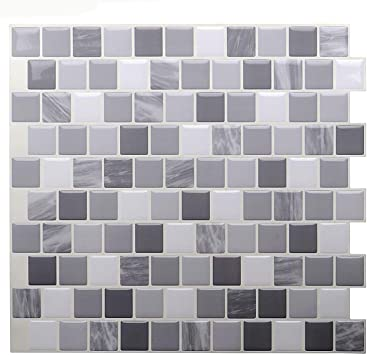 Stickgoo 3d Tile Stickers Peel And Stick Tile Backsplash Self Adhesive Wall Tiles For Kitchen Bathroom 10 X 10 Pack Of 6 Mixed Grey Amazon Co Uk Diy Tools