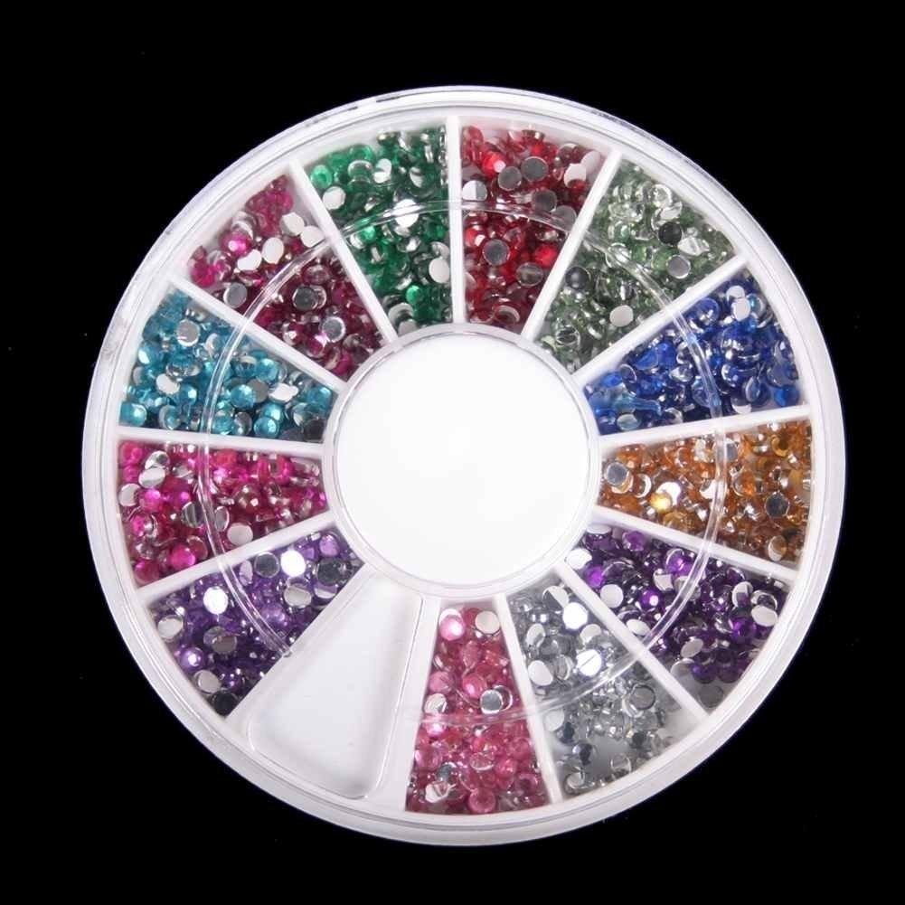 Amazon.com : 3D 2300pcs Round Nail Art Rhinestone Gems Wheel with ...