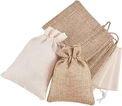 Imagen deBENECREAT 24 PCS Bolsas de Arpillera con Cordón Envase de Regalo Color de Crema y Lino para Fiesta Boda y Almacenamiento de Cosas Pequeñas 12x9cm