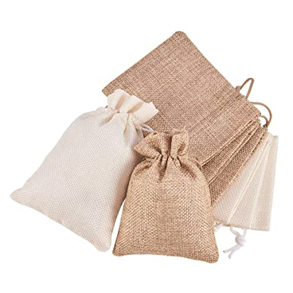 Yakamoz Vintage Burlap Bags with Drawstring for Wedding Party Favor Drawstrings