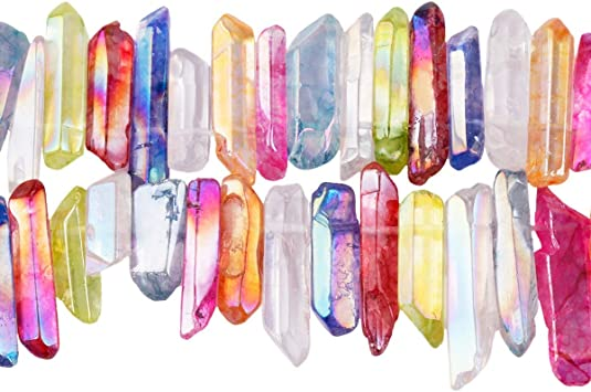 Natural Crystal Quartz Point Beads.Mysterious Crystal Quartz Point.Bright Crystal Beads.Good Quality Crystal Point Beads.Top Drilled Beads.