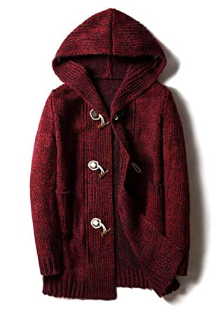 Blue-shore Sweaters Jumpers Mens Hooded Sueter Knit Sweater Sudaderas ,Burgundy,M