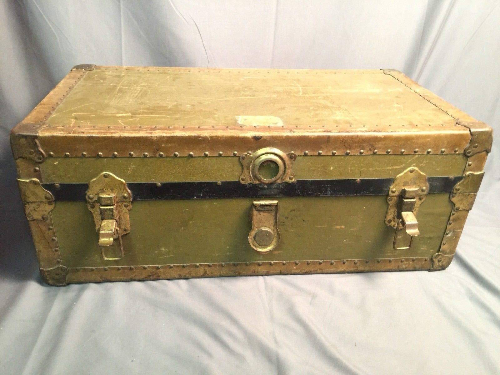 Steamer Trunk Vintage Leather Handle Chest Antique Wardrobe Storage Footlocker