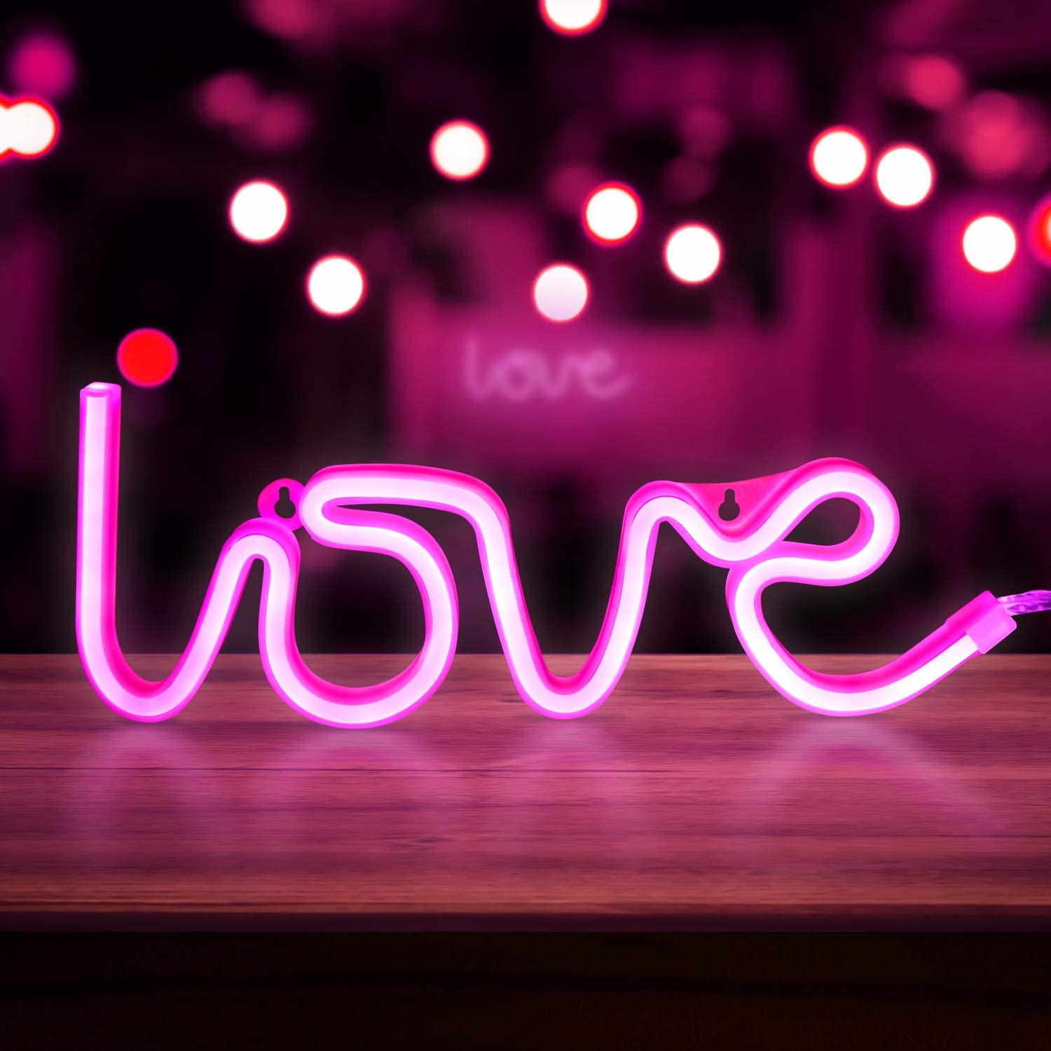 TUKTOBE Neon Pink Love Signs, LED Neon Signs for Wall Decor, Led Safety Art Wall Decoration Lights Neon Lights Night Table Lamp with Battery Powered/USB for Baby Room, Home, Wedding, Kids Gift