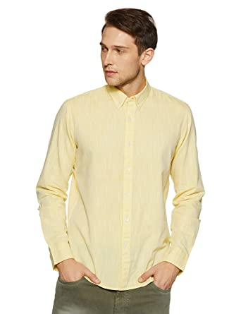 11f1fb5f259e41 Casual Terrains Men's Tailored Slim-Fit Button-Down Collar Summer Shirt  Without Pocket Yellow