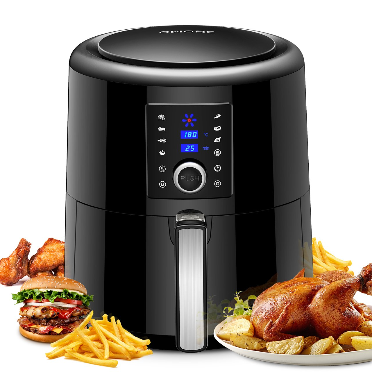 Omorc Pro, friggitrice ad aria olio-grande capacità 5.5l-7funzioni preimpostate-2ore isolamento termico-ricetta, Airfryer XXL senza BPA per famiglia, festa, Natale, nero