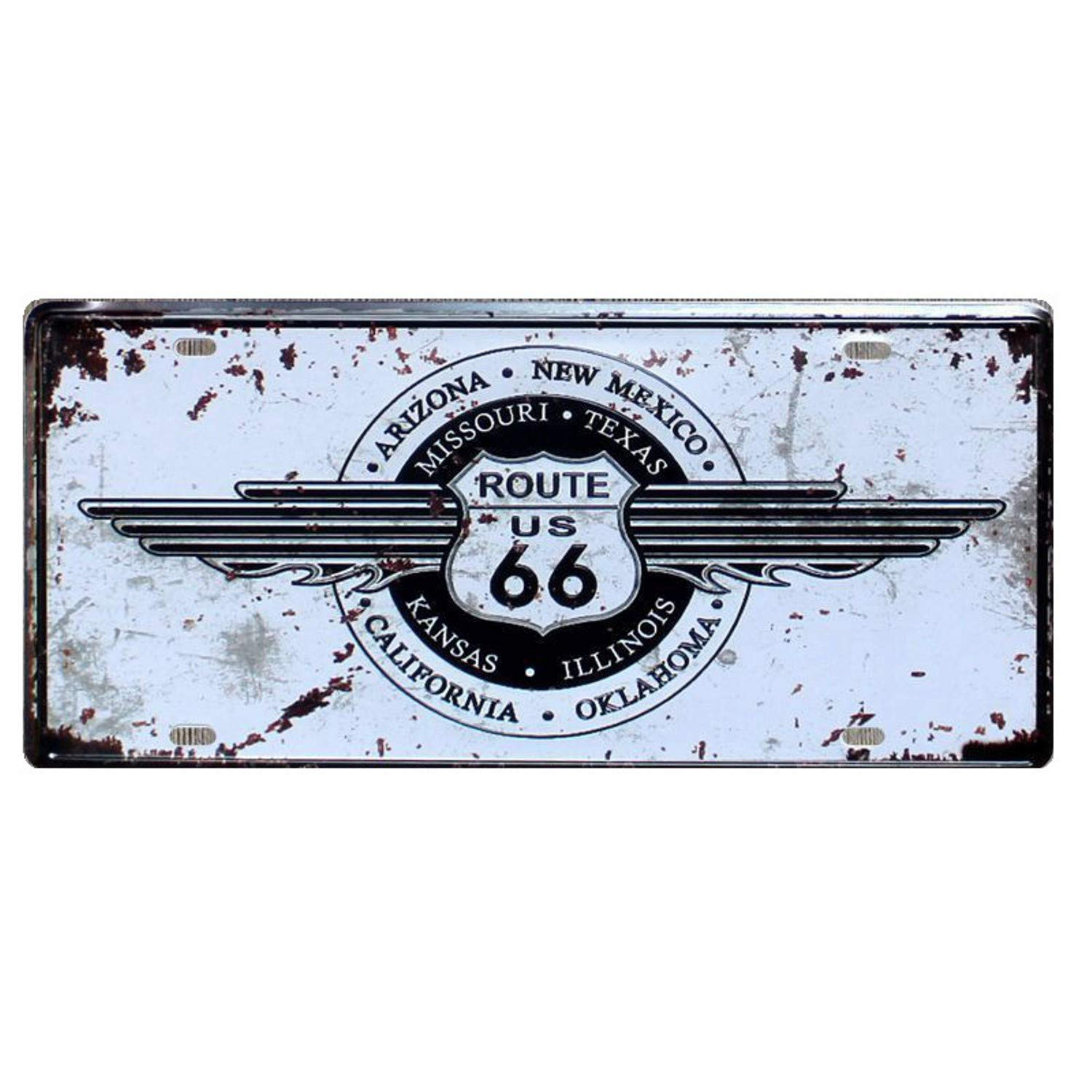 Amazon.com: Chitop USA Vintage Metal Tin Signs Route 66 Car Number License Plate Plaque Poster - Bar Club Wall Garage Home Decoration (15x30cm) (14): Home & ...