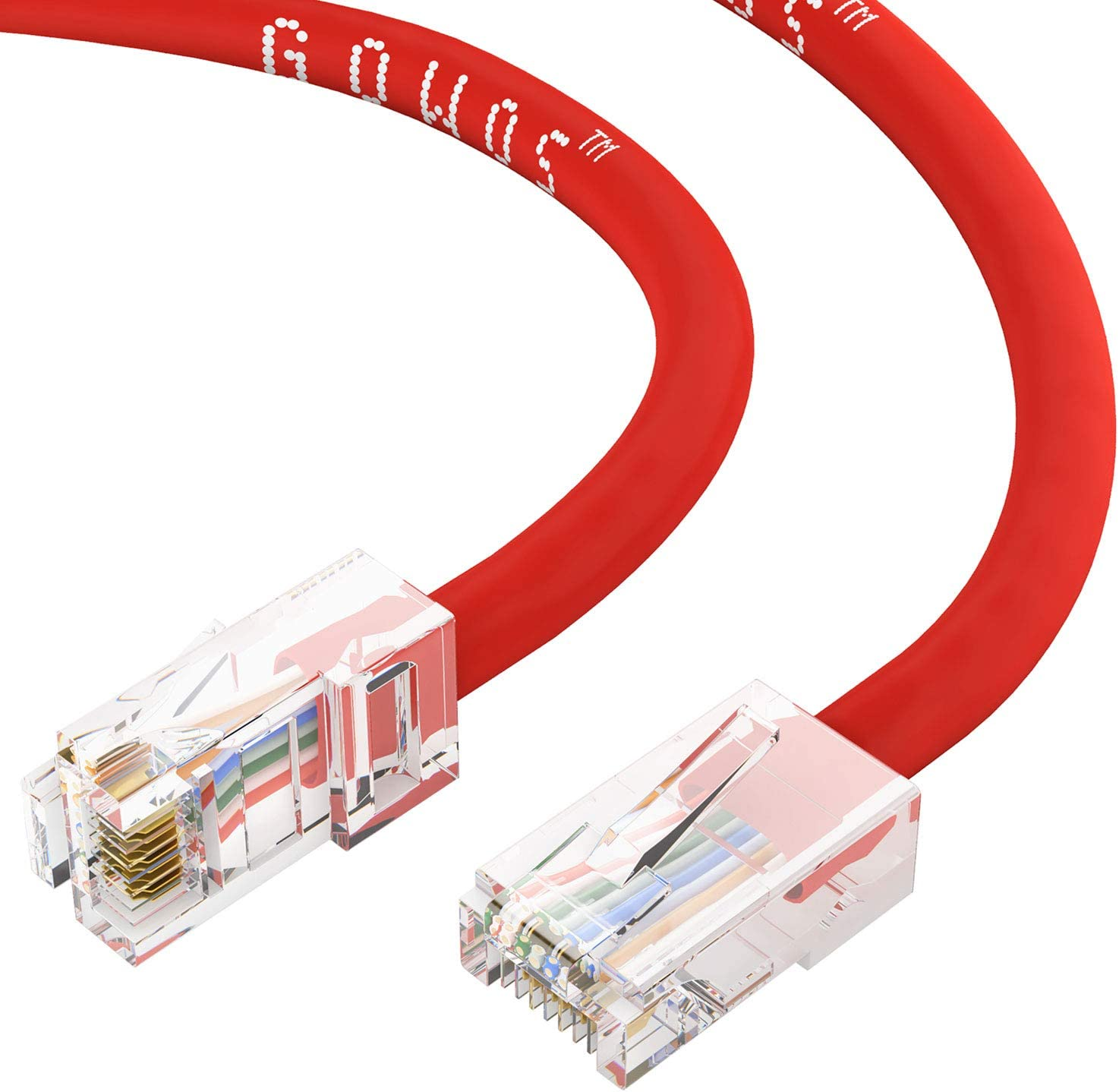 100-Pack - 3 Feet Red 350MHz 24AWG Network Cable with Gold Plated RJ45 Non-Booted Connector 1Gigabit//Sec High Speed LAN Internet//Patch Cable CABLECHOICE Cat5e Ethernet Cable
