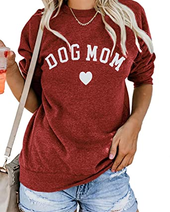 ccbccecb Yskkt Plus Size Dog Mom Shirts Women Graphic Tees Funny V Neck Long Sleeve  Crew Neck Sweatshirts Pullover at Amazon Women's Clothing store: