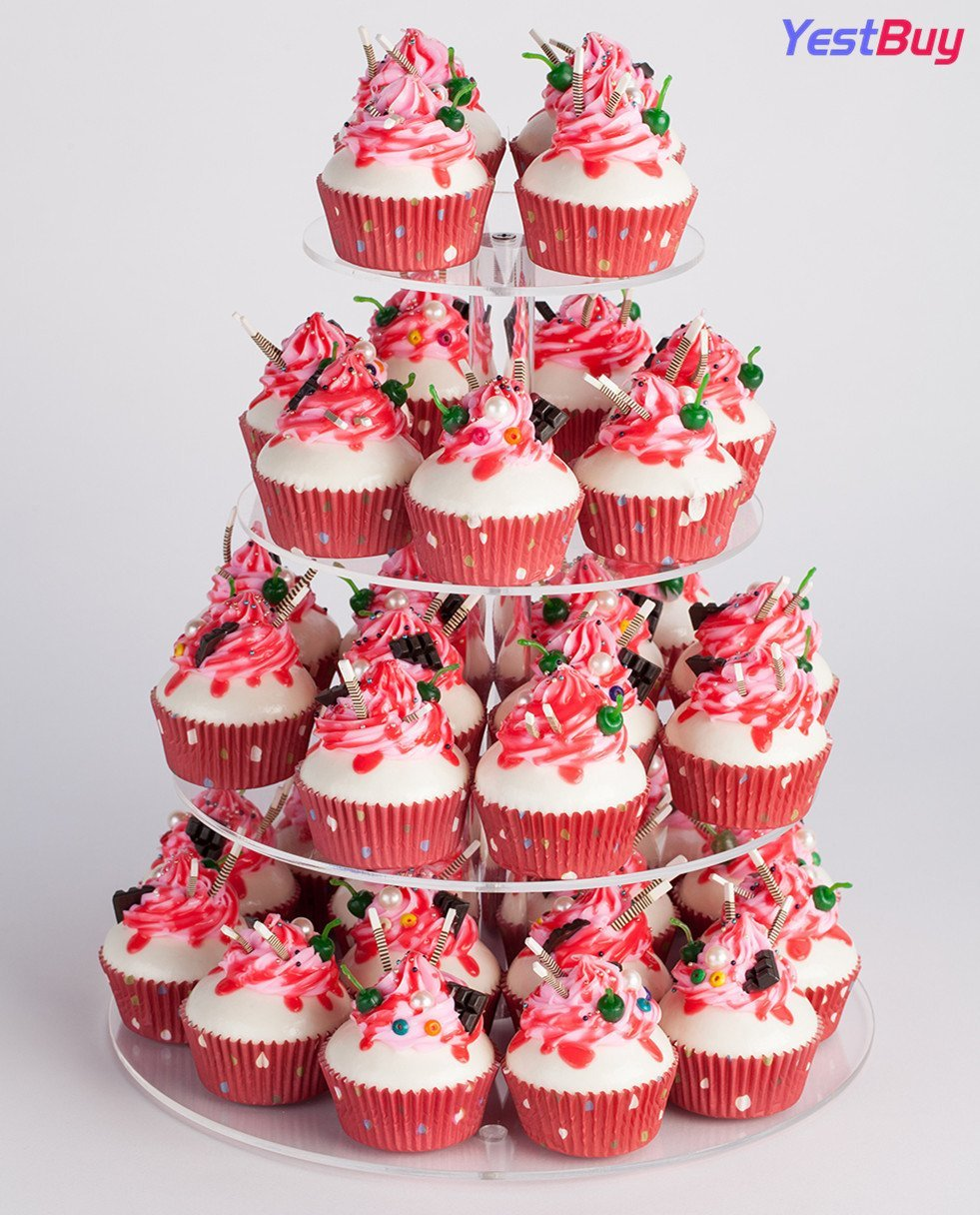 YestBuy 4 Tier Maypole Round Wedding Party Tree Tower Acrylic Cupcake Display Stand (12.8 Inches) by YestBuy (Image #4)