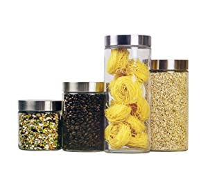 Home Basics 4 Piece Round Glass Canisters with Stainless Steel Airtight Screw On Lid Food Storage and More