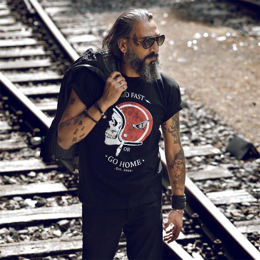 T-Shirt Casque de Moto GO Fast Or GO Home Noir S-XXXL