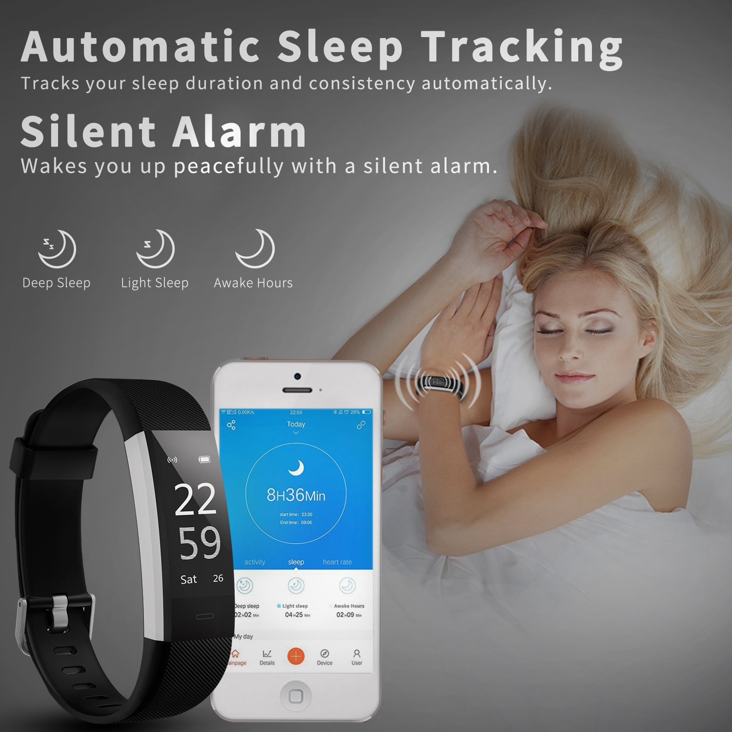 Fitness Tracker Activity Tracker Aneken Smart Band Heart Rate Sleep Monitor Waterproof Smart Bracelet Bluetooth Pedometer Wristband Smart Watches for Android and iOS Smart Phones by ANEKEN (Image #5)
