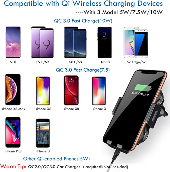 Wireless Car Charger,Qi Car Phone Charging Air Vent Phone Holder,Full-automatic Clamping Touch Sensor Car Mount,iSeekerkit 7.5W Fast Car Wireless Charging Compatible for iPhone Xs//Max//X//XR//8//8 Plus,10W Compatible for Galaxy S10//S9//S9+//S8//S8+//Note 9//Note 8,