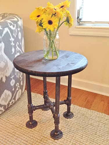 Small Round Industrial Style Steel Pipe End Table