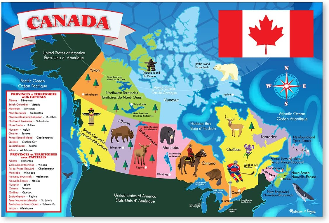 Canada Map Puzzles Amazon.com: Melissa & Doug 48pc Canada Map Floor Puzzle: Melissa