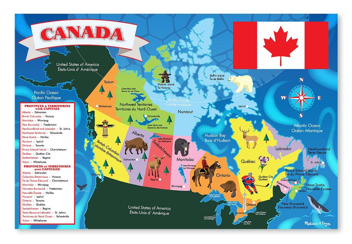 Amazoncom Melissa Doug Canada Map Jumbo Jigsaw Floor Puzzle - Canada map puzzles