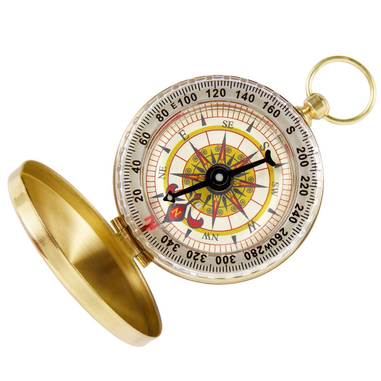 AEXGE ™ポータブルポケット時計flip-openコンパスアウトドアナビゲーションツールwith光のキャンプ、ハイキング B01M6E33NW