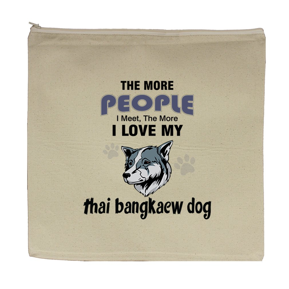 Canvas Zipper Pouch Bag 5.5''X7.5'' More People Meet Love Thai Bangkaew Dog by Style in Print