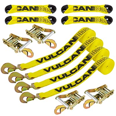 VULCAN 8-Point Roll Back Vehicle Tie Down Kit with Snap Hooks On Both Ends, Set of 4 - Classic Yellow: Automotive