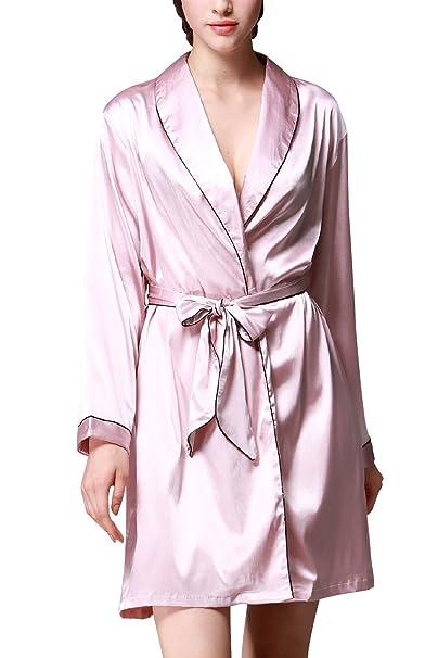 Dolamen Mujer Vestido Kimono Albornoz Satén, Camisón para mujer, Lujo Damas satinado sedoso Robe