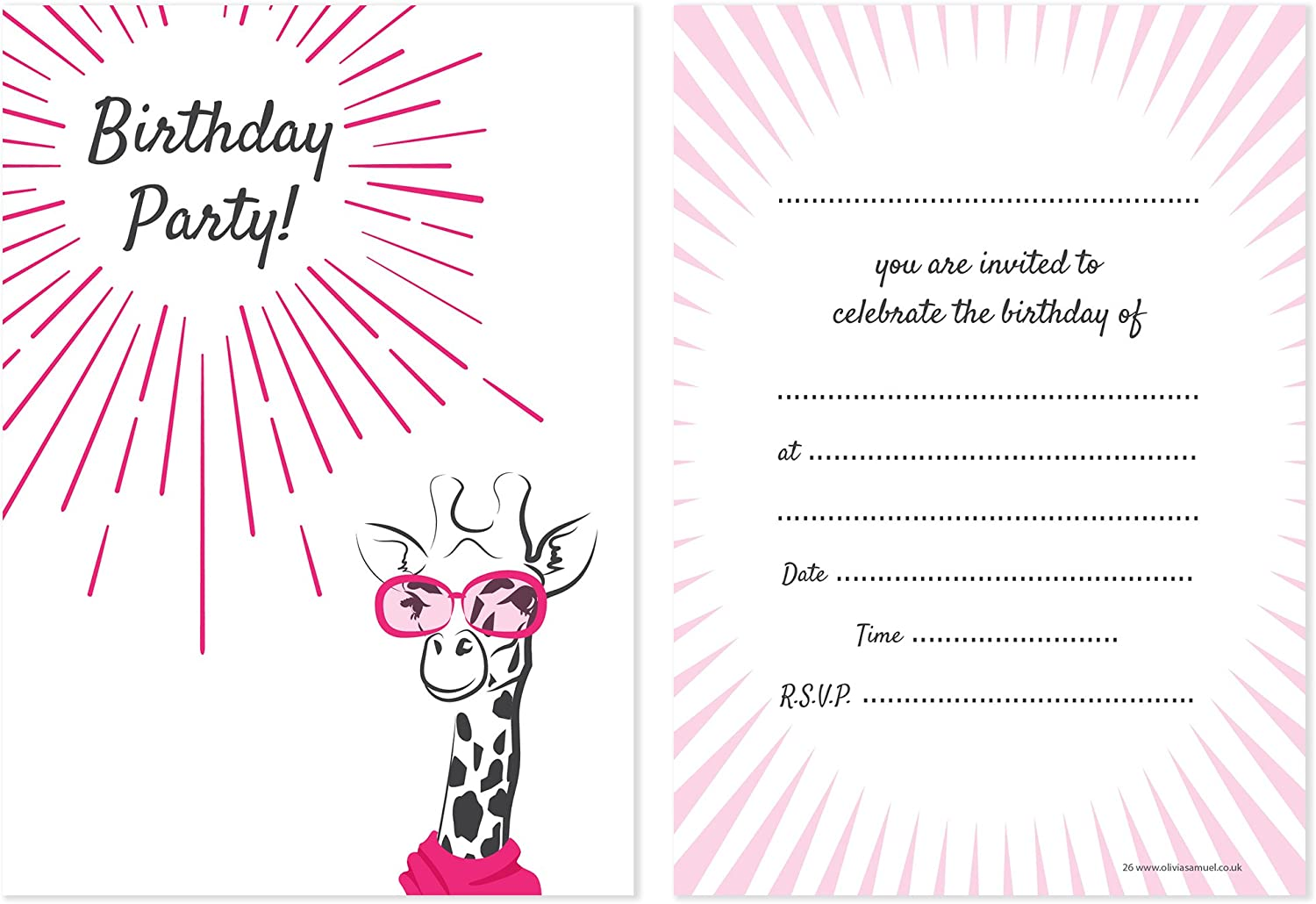 Pack of 10 Teenager Birthday Party Invitations A6 Postcard Size with envelopes Olivia Samuel Cool Giraffe Teen Birthday Invites