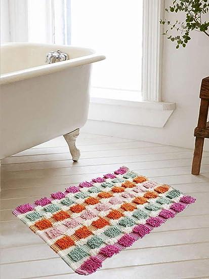 Galaxy Home Decor Handcraft Cotton Bath/Door Mat (Grey, 16x24-inch)