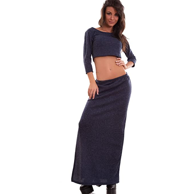 design di qualità 65a15 3dd83 Toocool - Completo Donna Gonna Lunga Spacco Laterale Top ...