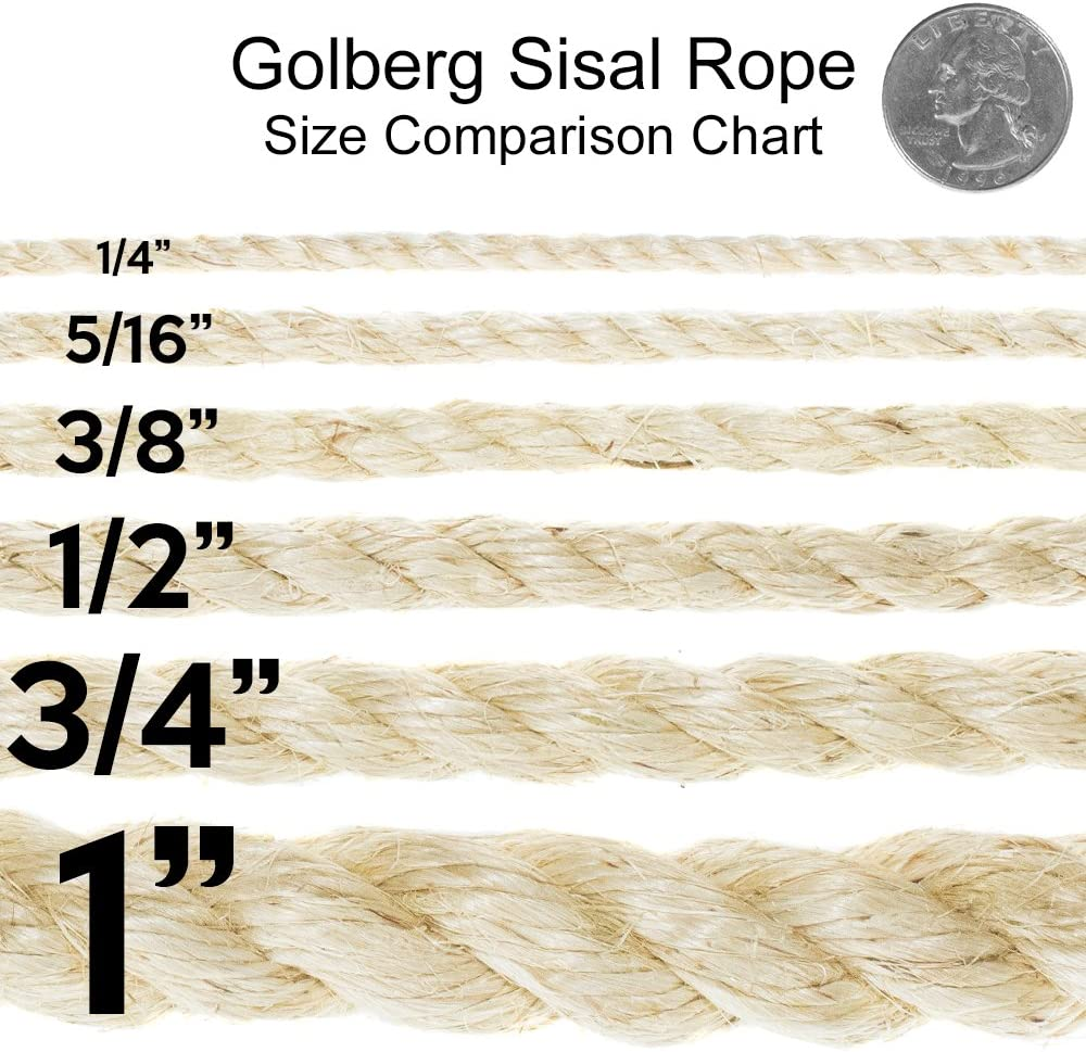 Golberg Twisted Sisal Rope 5//16 Inch x 100 Feet