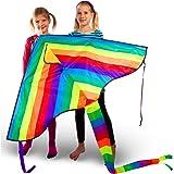 VELUXIO KITES Regenbogen Drachen für Kinder und Erwachsene