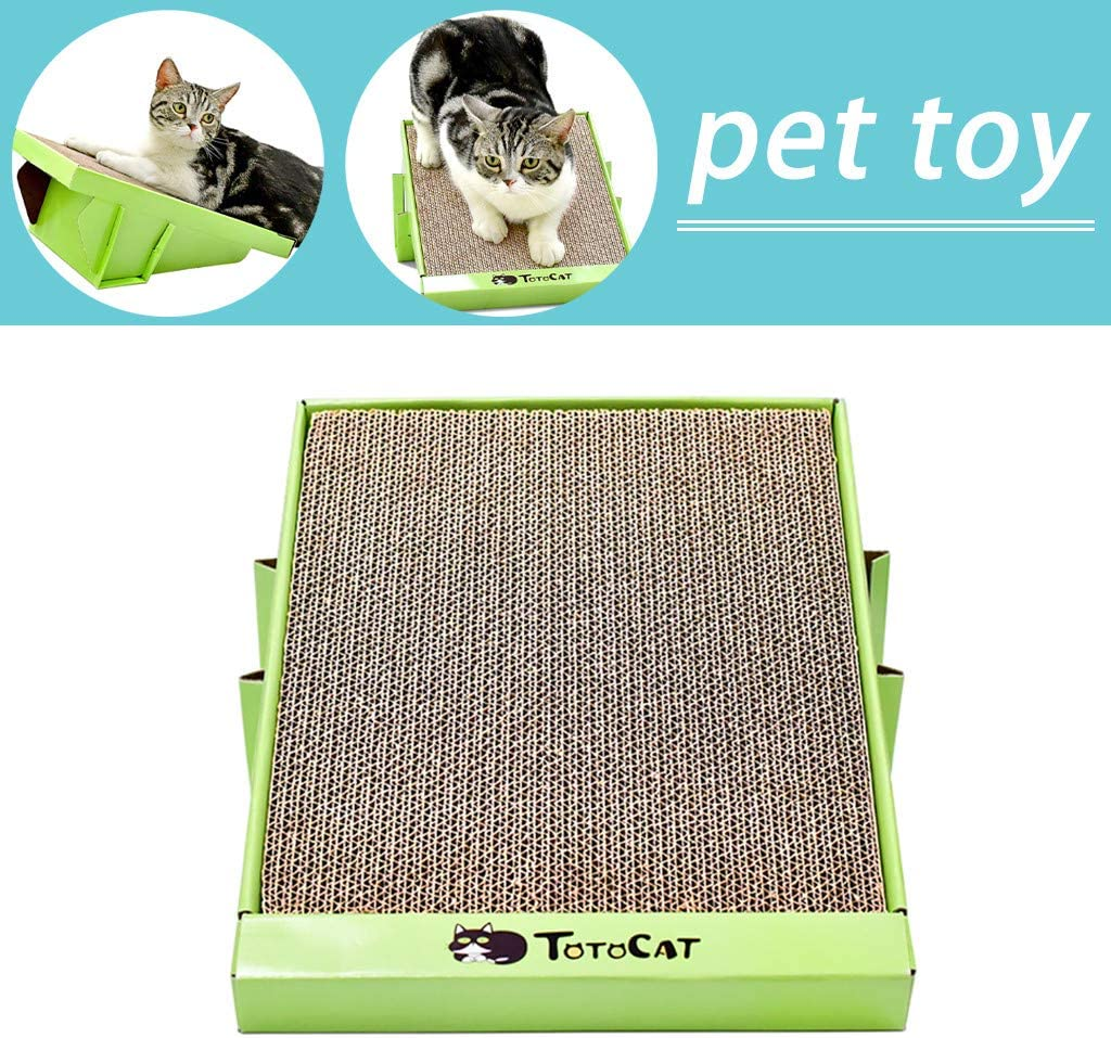 Cat Scratcher Cardboard Brown FunDiscount Wedge Shape Scratch Pad for Cats Kitten Kitty Wide Scratching Pad Scratch n Play Ramp Pet Scratching Board Lounge Sofa Multi-functional Woven Sisal Carpet