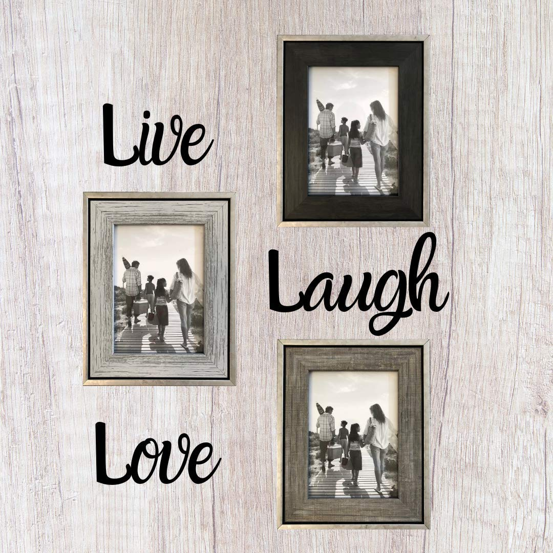 Tasse Verre 5x7 Rustic Frames (3-Pack) - Distressed Farmhouse Industrial Frame - Ready to Hang or Stand - Built-in Easel - Silver Galvanized Metal Look with Wood Insert by Tasse Verre (Image #3)