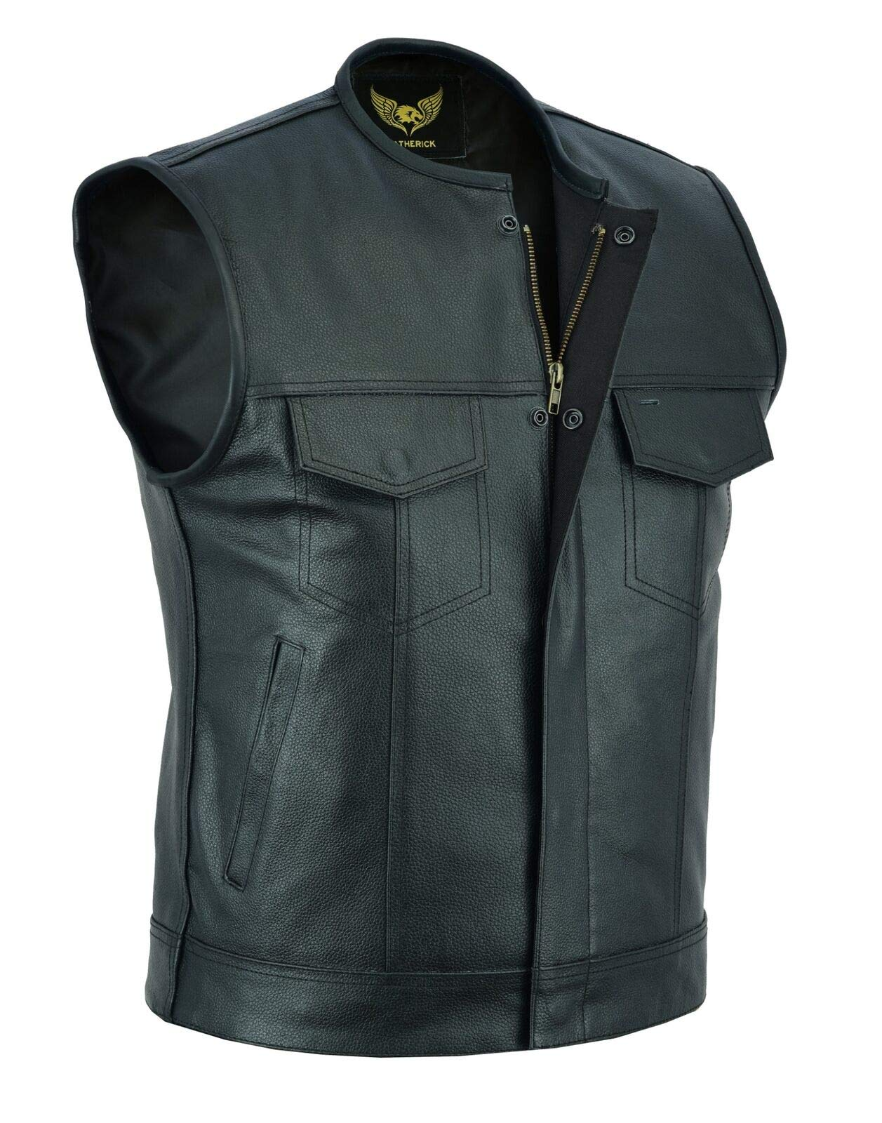 DP Vests Men's SOA Collarless Leather Vest Motorcycle Biker Club Concealed Carry Outlaws (XXX-Large) Black