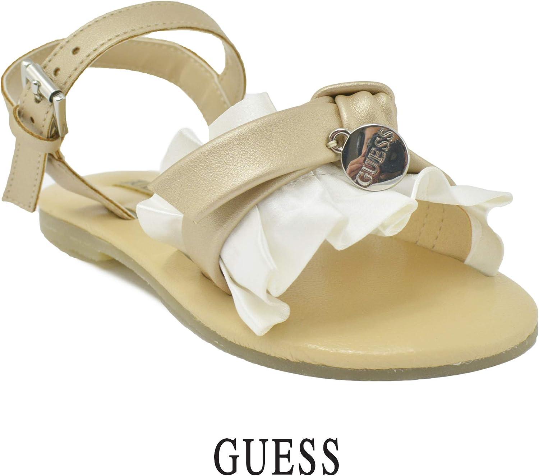 Guess Sandales pour Enfant Fille Couleur Or Rouches Effet